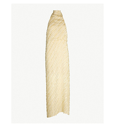 SID NEIGUM Halterneck gathered chiffon dress (Ivory