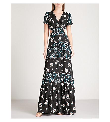 BA&SH Blush printed crepe maxi dress (Black