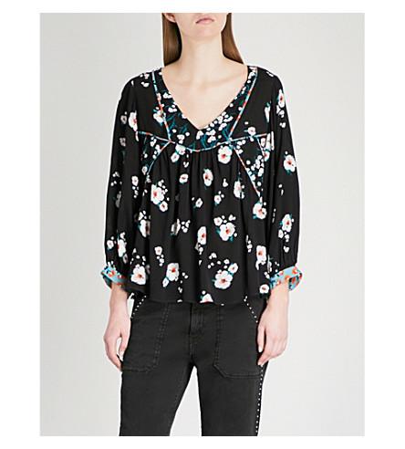BA&SH Floral print crepe top (Black