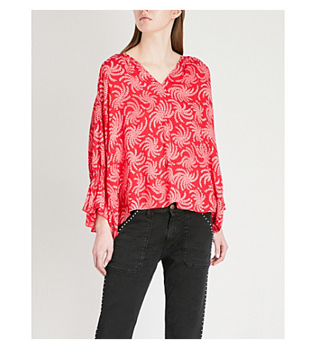 BA&SH Floral print woven top (Pink