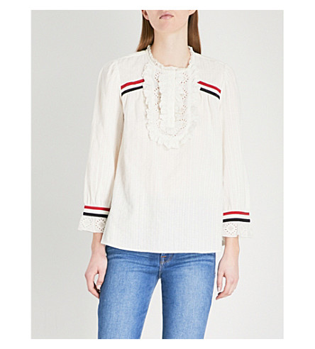 BA&SH Lace and stripe trimmed cotton top (Off+white