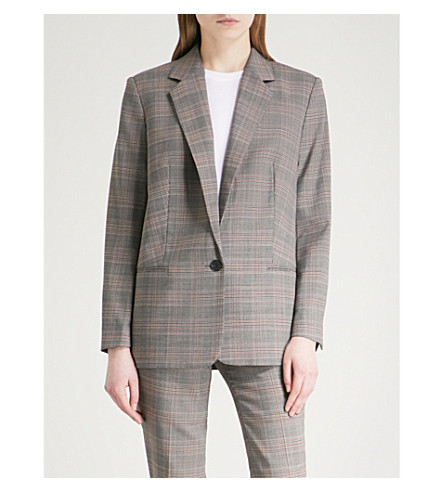 BA&SH Glean Prince of Wales checked woven jacket (Carbon