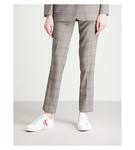 BA&SH Gody Prince of Wales checked mid-rise woven trousers (Carbon