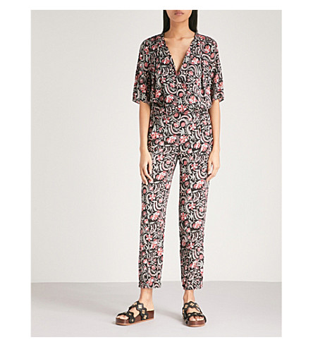 BA&SH Hollywood floral-print woven jumpsuit (Black