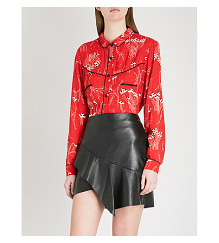 BA&SH Kamis printed crepe shirt (Red
