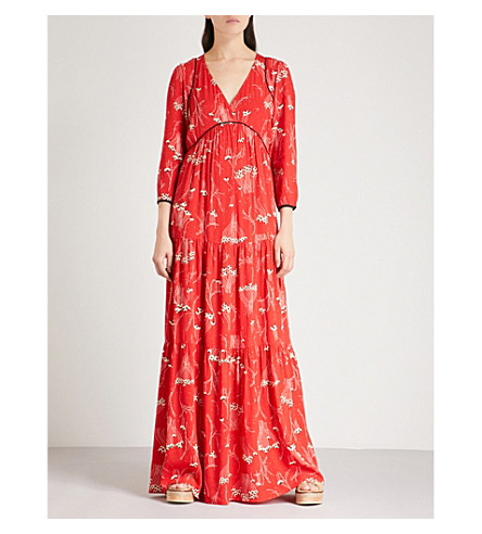 BA&SH Kina printed crepe maxi dress (Red