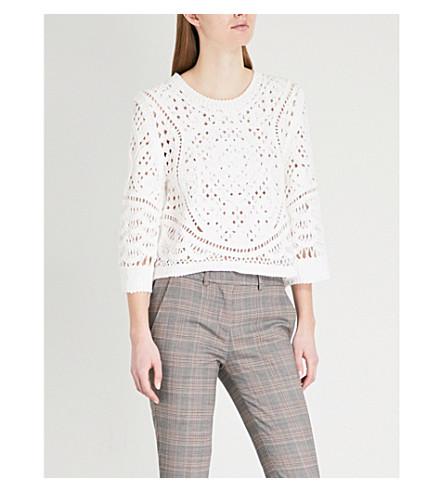 BA&SH Lua cotton-embroidered top (Off+white