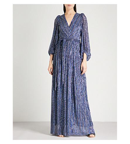 BA&SH Maddie cutout metallic woven maxi dress (Blue