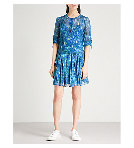 BA&SH Madrid embroidered silk-blend mini dress (Blue