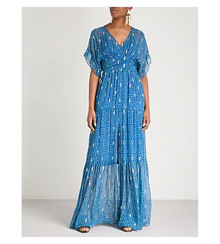 BA&SH Mela metallic-embroidered silk-chiffon maxi dress (Blue
