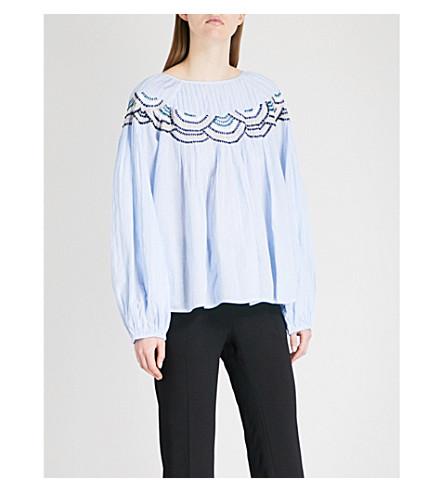 BA&SH Nora embroidered cotton top (Sky+blue