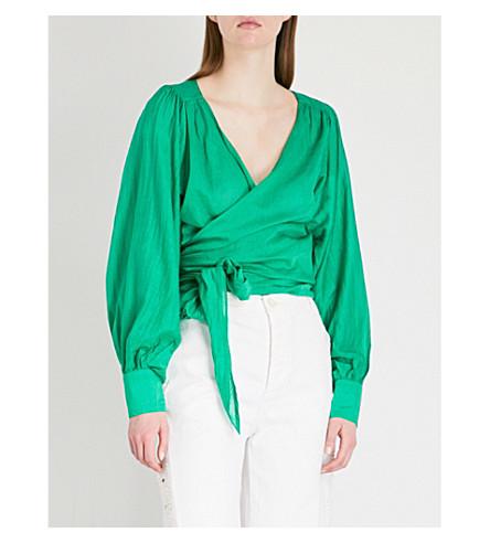 BA&SH Pandora cotton and silk-blend wrap blouse (Green