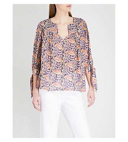 BA&SH Rolmy printed cotton blouse (Blue