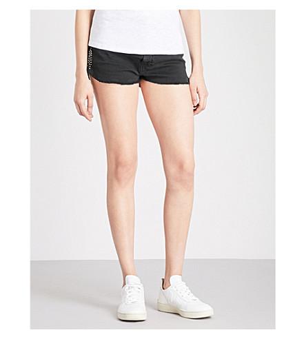 BA&SH Sleugo studded mid-rise denim shorts (Blackstone