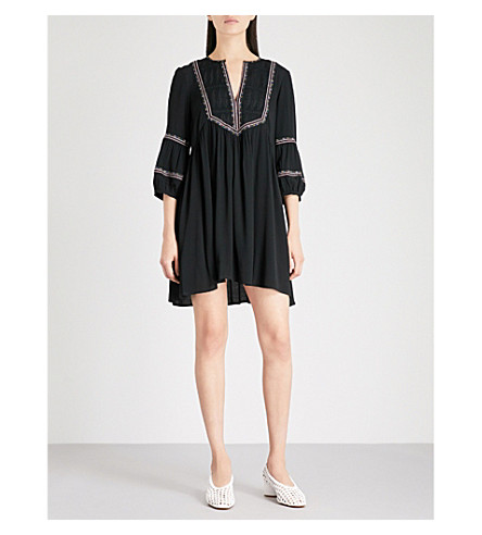 BA&SH Tale embroidered crepe mini dress (Black