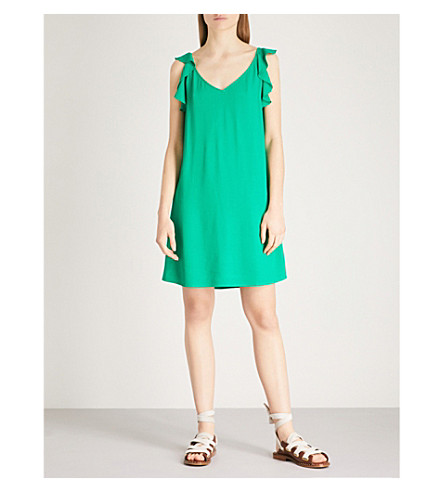 BA&SH Tampa ruffled crepe mini dress (Green