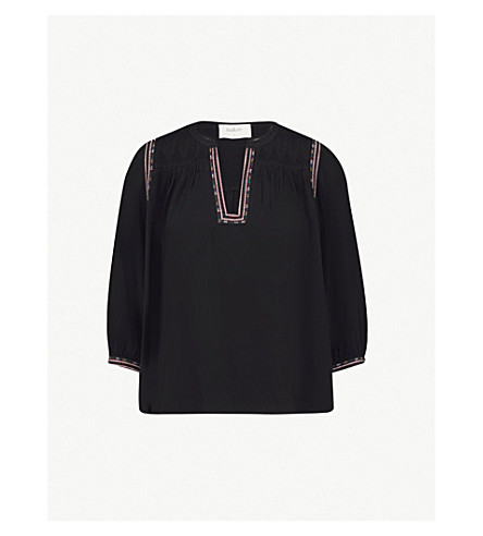 BA&SH Time embroidered crepe top (Black