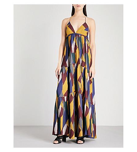 BA&SH Weave geometric-pattern pleated maxi dress (Multicolor