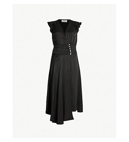 BA&SH Coralie ruffled asymmetric satin midi dress (Black