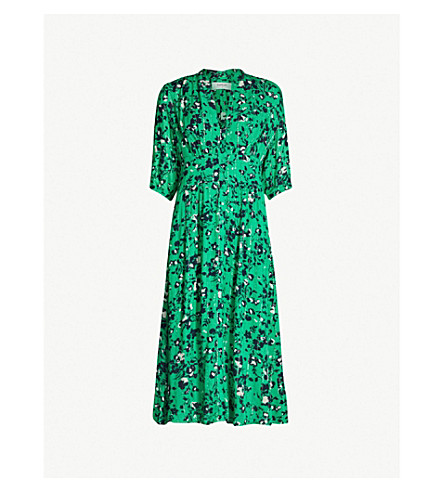 BA&SH Elfe floral-print woven midi dress (Green