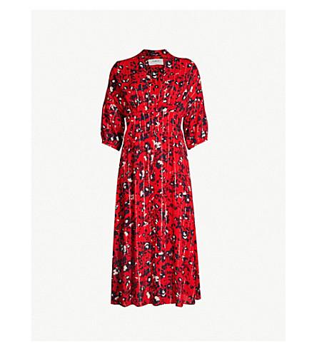 BA&SH Elfe floral-print woven midi dress (Red