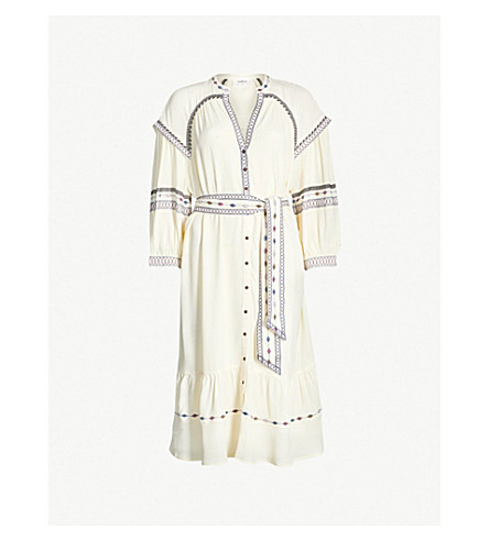 BA&SH Patty embroidered woven dress (Off white