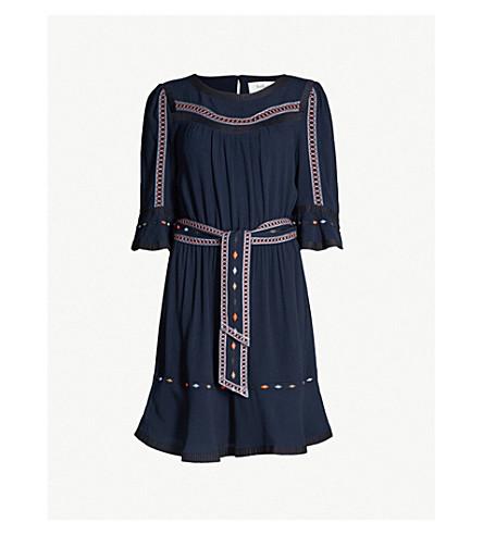 BA&SH Plaza embroidered-trim woven dress (Dark blue
