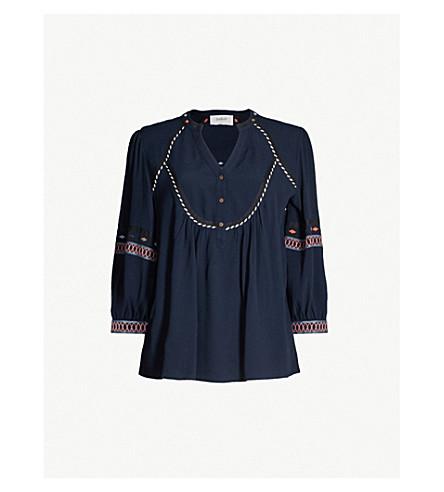 BA&SH Plume embroidered-trim crepe top (Dark blue