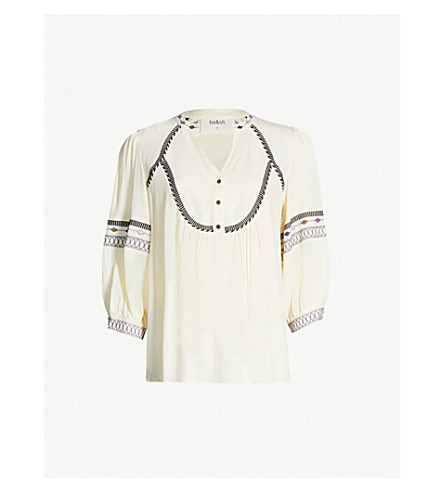 BA&SH Plume embroidered-trim crepe top (Off white