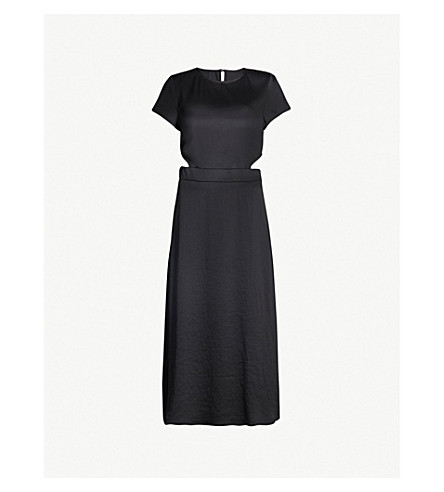 BA&SH Ritz cutout satin midi dress (Black