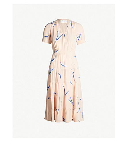BA&SH Tais leaf-print crepe dress (Nude