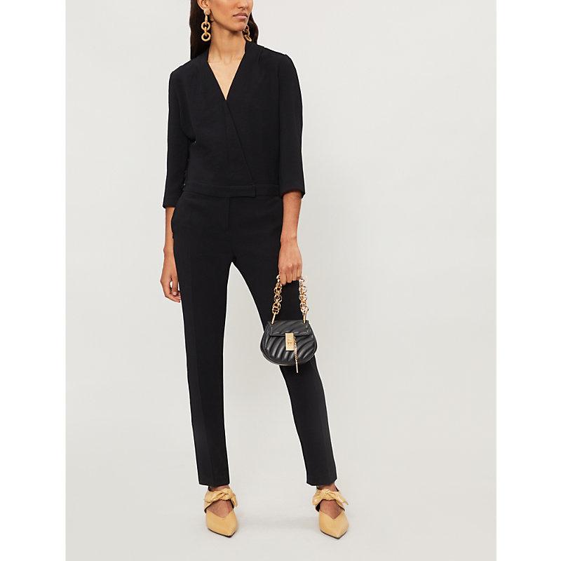 BA&SH Chiara lace-up side crepe jumpsuit