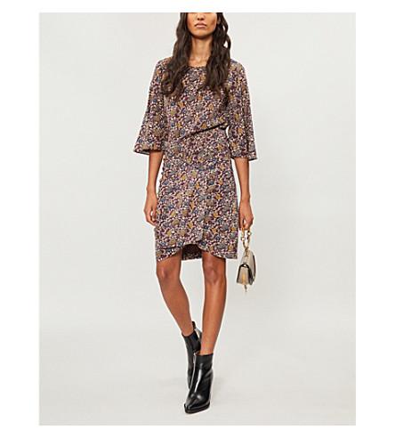 BA&SH Flared-cuff floral-print crepe dress (Bordeaux