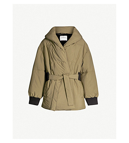 BA&SH Belted padded shell puffer jacket (Kaki