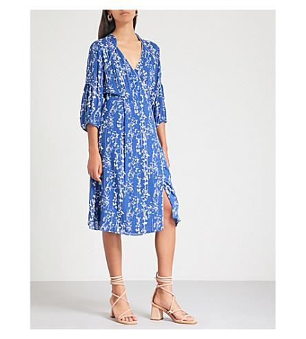 BA&SH Folly floral-print woven wrap dress (Bleuet