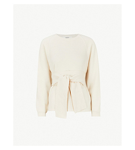 BA&SH Hanna waist-tie cotton-blend jumper (Ecru