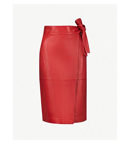 BA&SH Waist-tie leather skirt (Rouge
