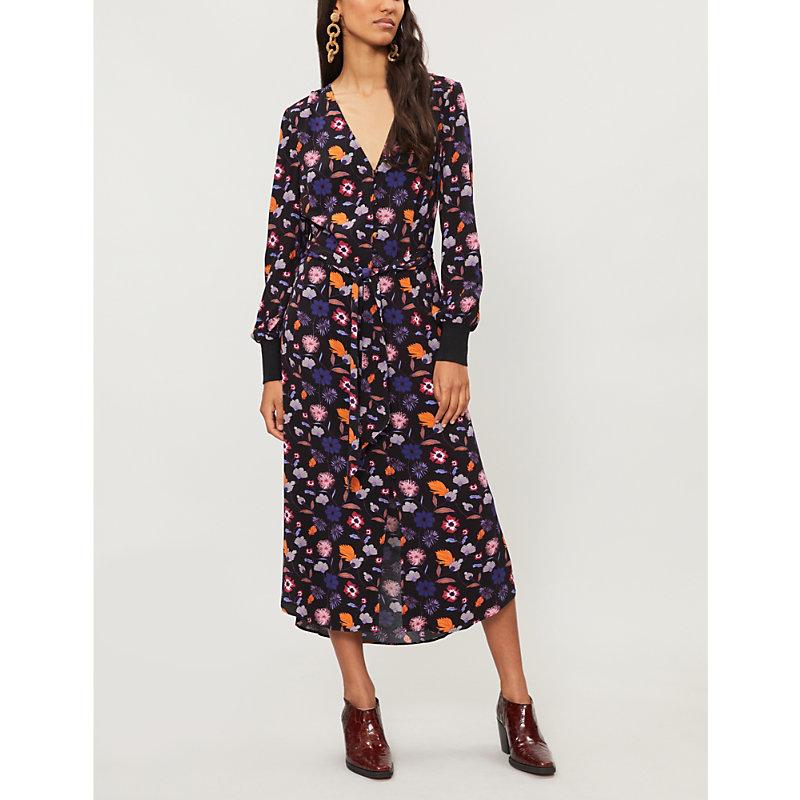 BA&SH Floral-print waist-tie crepe dress