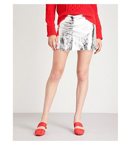 BA&SH Metallic leather skirt (Argente