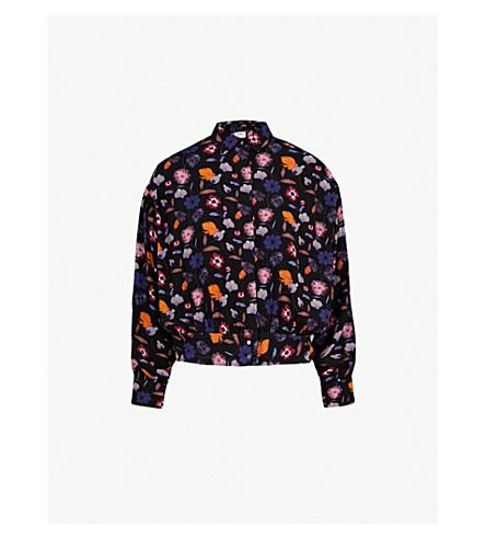 BA&SH Magnolia floral-print crepe shirt (Noir
