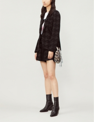 Nalia Dogtooth Woven Jacket in Noir
