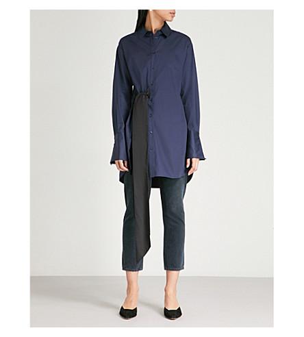 KITRI Joanna sash-detail cotton-poplin shirt (Navy+with+black+sash