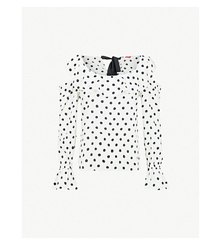 KITRI Susan ruffled polka-dot crepe top (Polka+dot