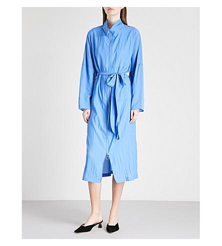 KITRI Laura belted woven anorak coat (Mid+blue