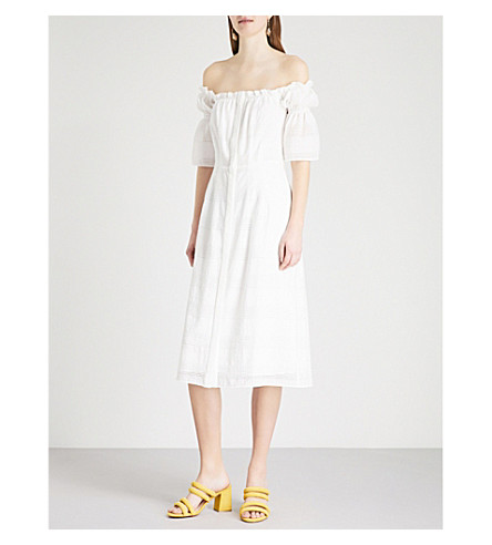 KITRI Gelsey off-the-shoulder smocked dress (White