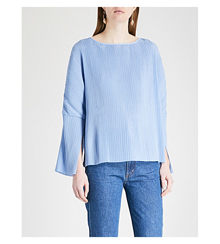 KITRI Melissa pleated crepe top (Sky+blue