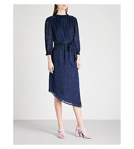 KITRI Galina floral-pattern woven midi dress (Navy