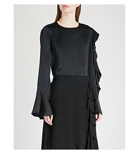 KITRI Cassandra ruffled silk-satin top (Black