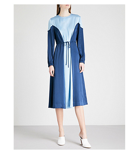 KITRI Sofiane two-tone silk midi dress (Soft+blue/sapphire