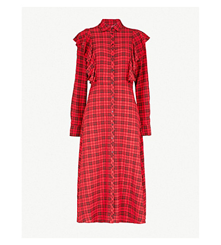 KITRI皱纹修剪方格编织衬衣礼服 (红色或黑色